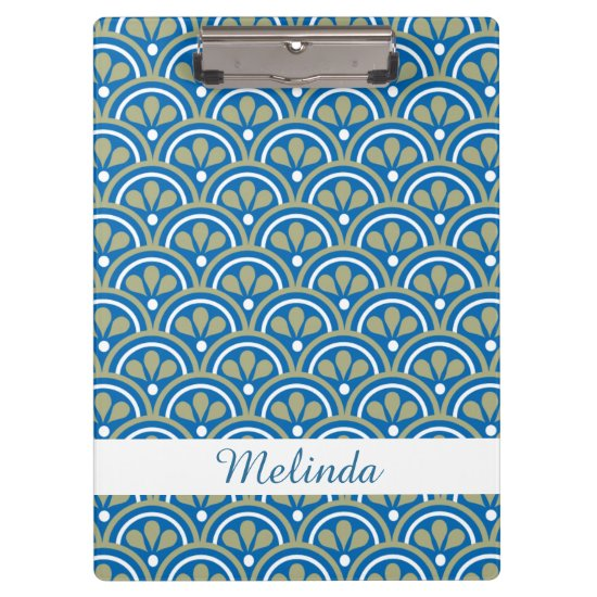 Blue&Khaki Floral Art Deco Pattern Personalized Clipboard