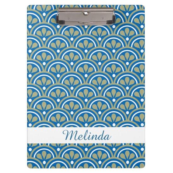 Blue&Khaki Floral Art Deco Pattern Personalized Clipboard