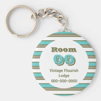 Blue Khaki stripes hotel room Basic Round Button Keychain