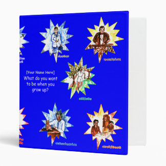 Blue kids binder with Professionals as Cartoons