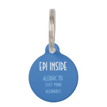 Blue Kids Epi Inside Emergency Contact Allergy Pet Tag