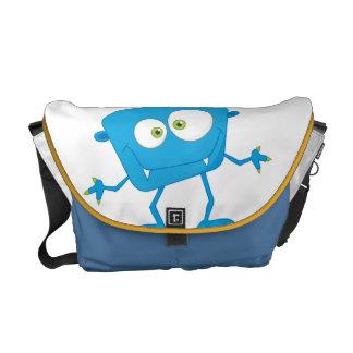 Blue Kids Monster Alien Messenger Bag
