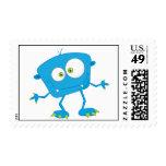 Blue Kids Monster Alien Postage Stamps