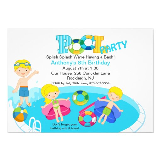 Blue Kids Pool Party Birthday Invitation