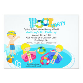 Blue Kids Pool Party Birthday Invitation 5