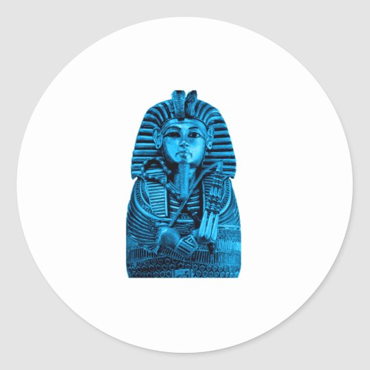 Blue King Tut Classic Round Sticker
