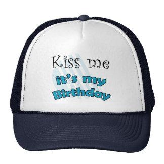 Blue kiss me it's my birthday mesh hats