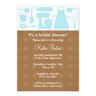 Blue Kitchen Bridal Shower Invitation