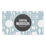 Blue Kitchen Collage with Rustic Gray Logo Bakery Double-Sided Standard Business Cards (Pack Of 100)