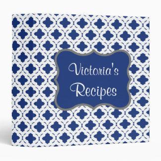 Blue Kitchen Recipe Organizer Binder Gift