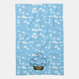 Blue Kitchen Towel with Stars & Cupcake
