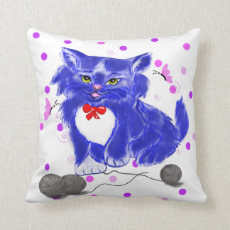 Blue kitten playing with thread and butterflies throw pillow