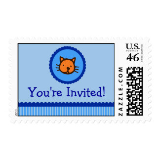 Blue Kitten You're Invited Postage