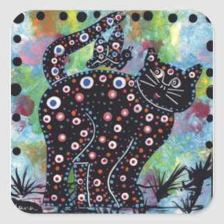 Blue kitty and butterfly square sticker