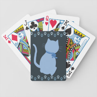 Blue Kitty Bicycle Playing Cards