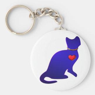 Blue Kitty Cat Basic Round Button Keychain