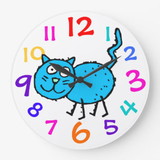 Blue Kitty Colorful Numbers Clock Child's Room