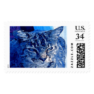 Blue Kitty Customized Pet Postage Stamps $0.34