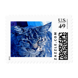 Blue Kitty Customized Pet Postage Stamps $0.49