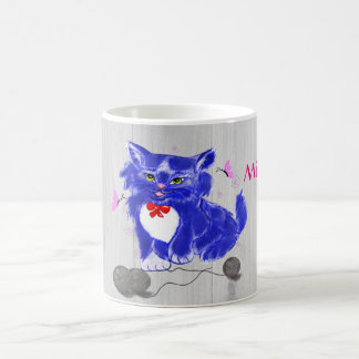 Blue kitty playing with thread and butterflies classic white coffee mug