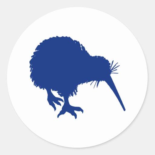 Blue Kiwi Round Sticker