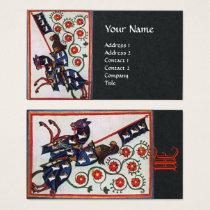 BLUE KNIGHT HORSEBACK Medieval Monogram Black Business Card