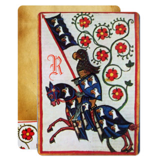 BLUE KNIGHT HORSEBACK MEDIEVAL PARCHMENT Monogram Card