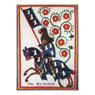 BLUE KNIGHT ON HORSEBACK MEDIEVAL PARCHMENT CARD