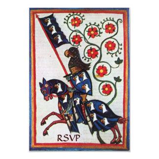 BLUE KNIGHT ON HORSEBACK MEDIEVAL PARCHMENT rsvp Card