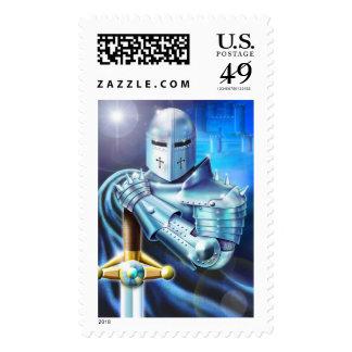 Blue Knight Postage Stamp