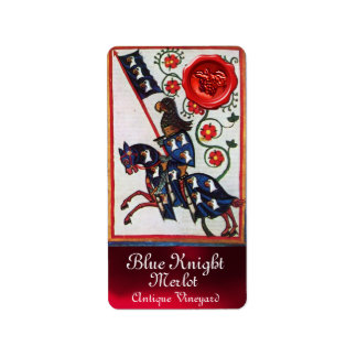 BLUE KNIGHT WINE LABEL ,RED WAX SEAL