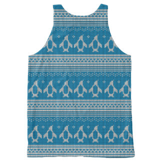 Blue Knitted Background All-Over Print Tank Top