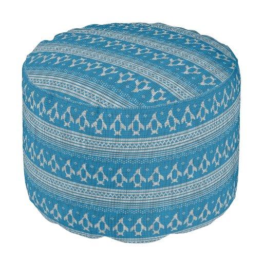 Blue Knitted Background Round Pouf Zazzle