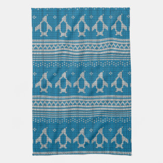 Blue Knitted Background Towels