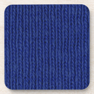 Blue knitted cotton close up coaster