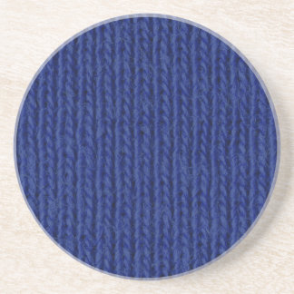 Blue knitted cotton close up sandstone coaster