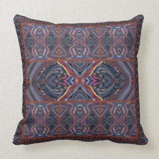 Blue Knitted Geometrics Throw Pillow