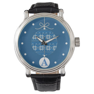 Blue Knitted Monogrammed Christmas Watch