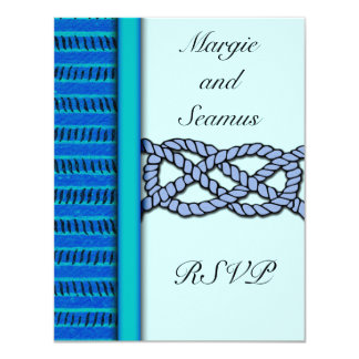 Blue Knotted Nautical Wedding RSVP 4.25x5.5 Paper Invitation Card