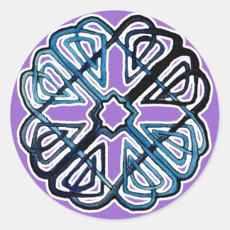Blue Knotwork Flower Classic Round Sticker