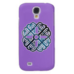 Blue Knotwork Flower Galaxy S4 Cases