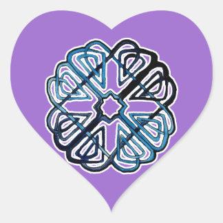 Blue Knotwork Flower Heart Sticker