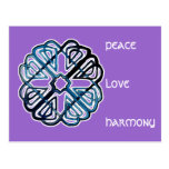 Blue Knotwork Flower Postcard