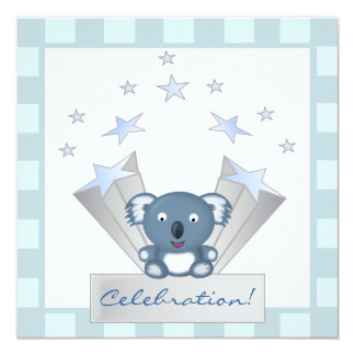 Blue Koala Bear Cartoon Baby Shower Invitation