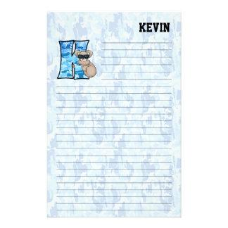 """Blue Koala Mongram """"K"""" Lined Stationery"""