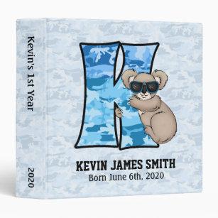 """Blue Koala Monogram """"K"""" Baby Scrapbook 3 Ring Binder"""
