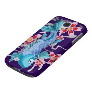 Blue Koi Fish on indigo Galaxy S4 Cover