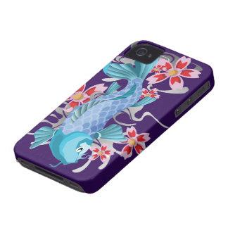 Blue Koi Fish on indigo iPhone 4 Cover