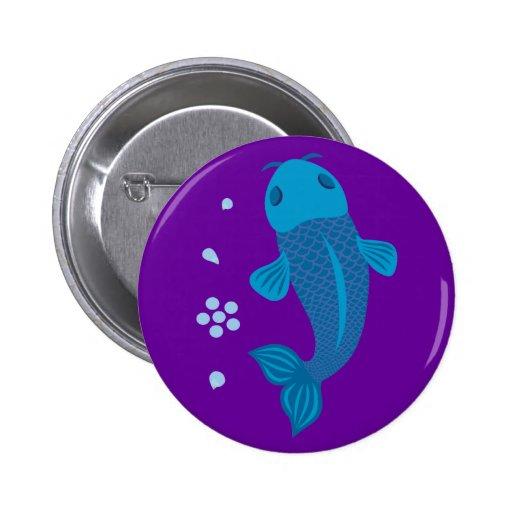 Blue Koi Fish Pinback Button