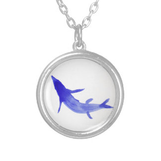Blue Koi Fish Round Pendant Necklace